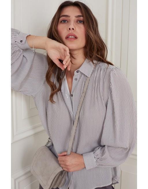 Geprinte blouse met streep
