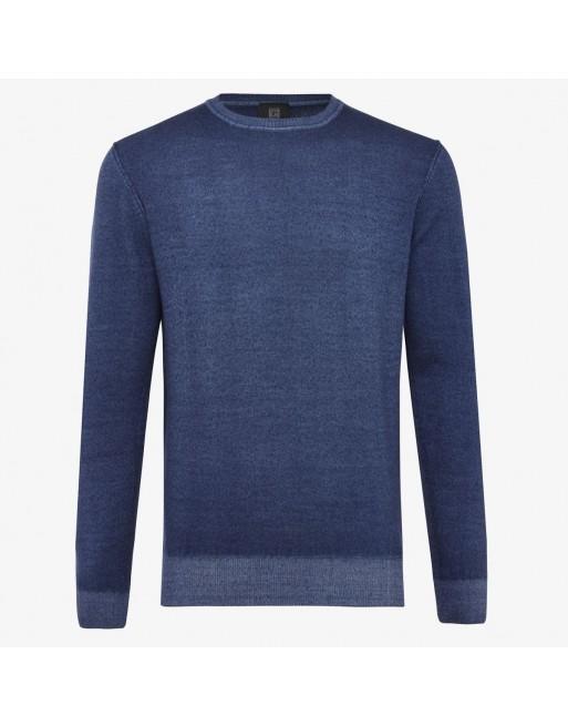 Wollen trui washed blauw