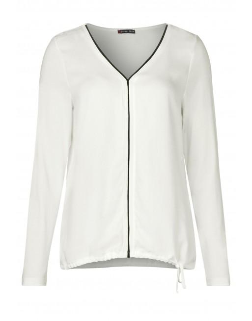 chiffon shirt w.shiny neckline