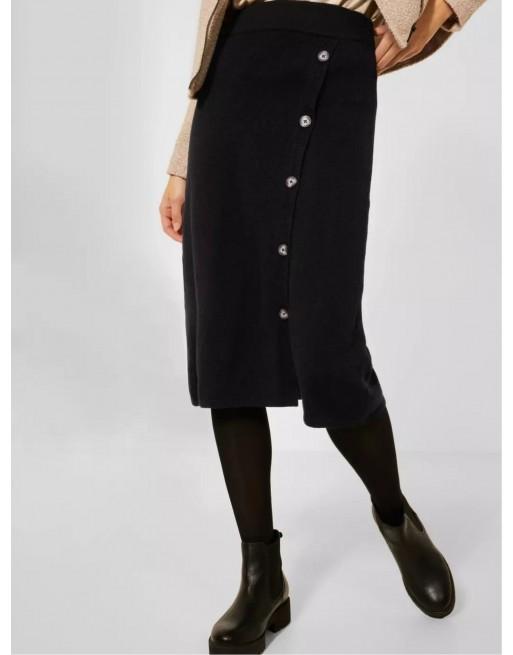 Gebreide rok met knoopdetail