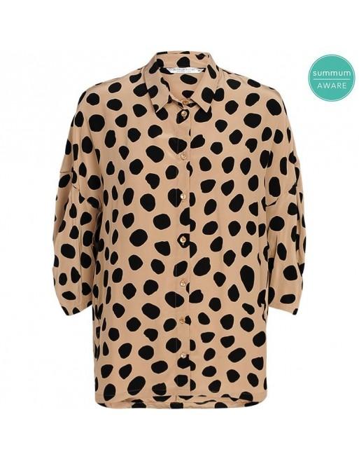 blouse short sleeves fluid...