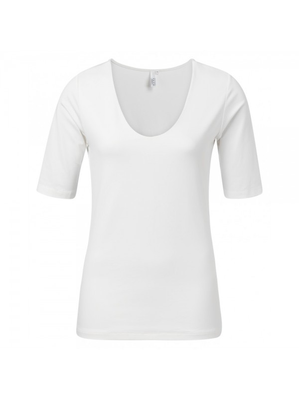 Round V-neck top with half sle