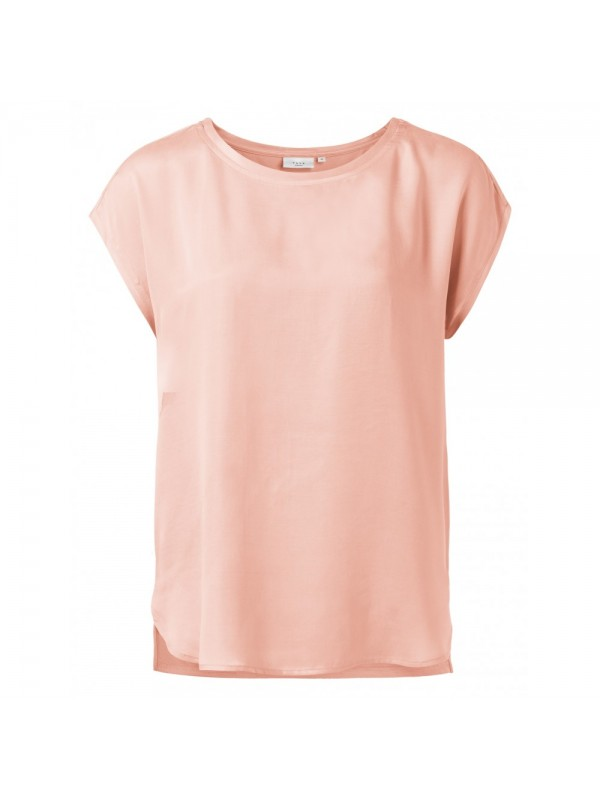 Fabric mix T-shirt with rounde