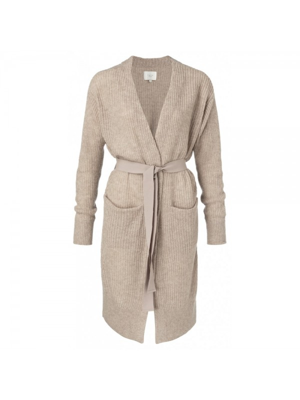 Long belted cardigan with fron