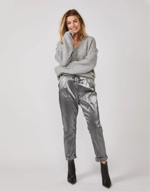 Metallic gecoate broek