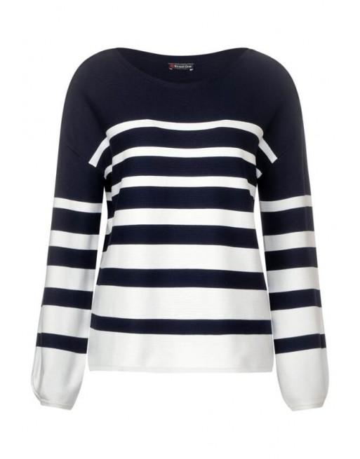 stripe puff sleeve, fine knit