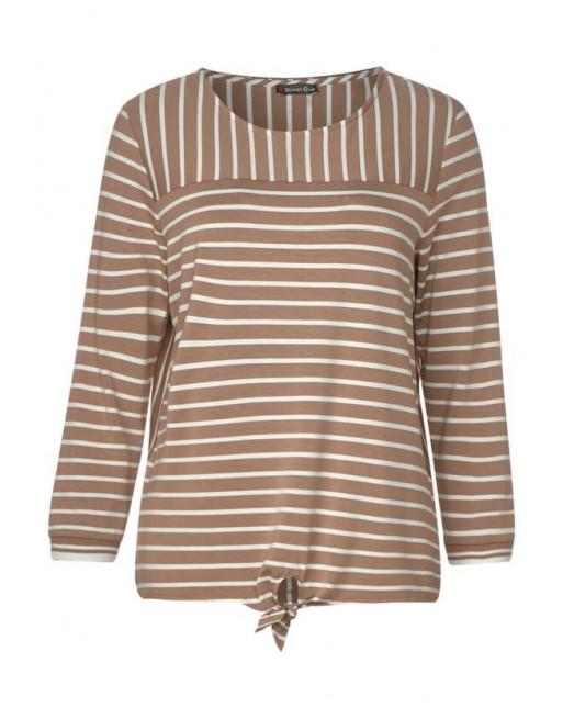 stripe-mix shirt w.knot