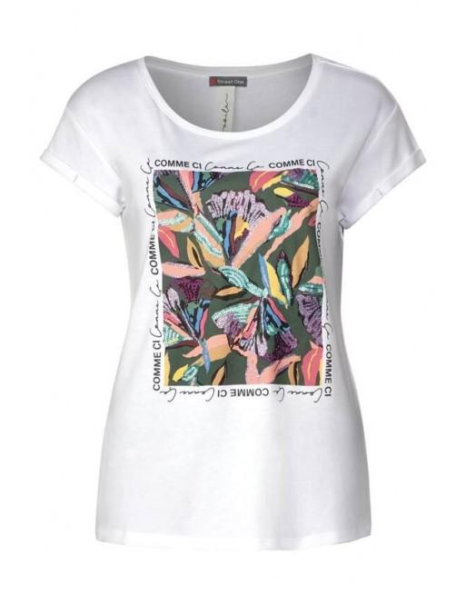 flower partprint shirt