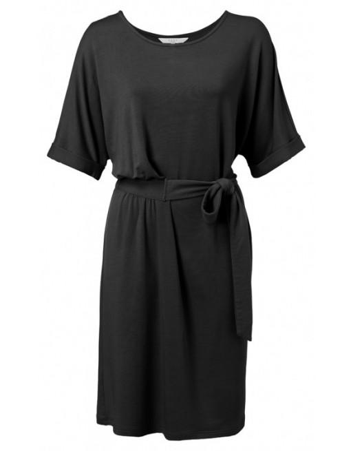 Jersey pleated midi dress