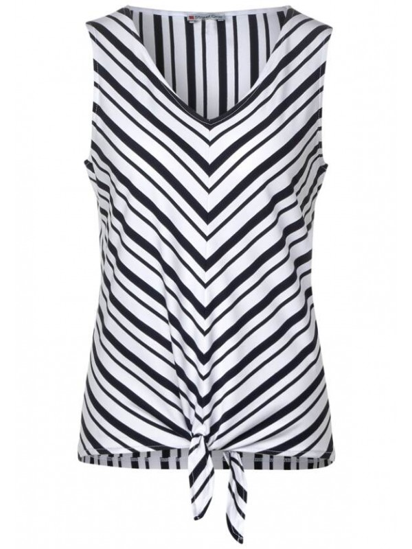 diagonal stripes v-neck top w.