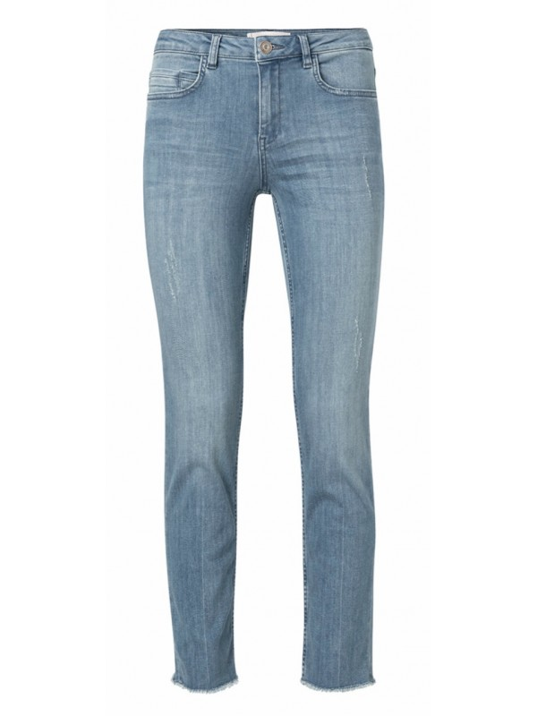 Cotton blend straight jeans