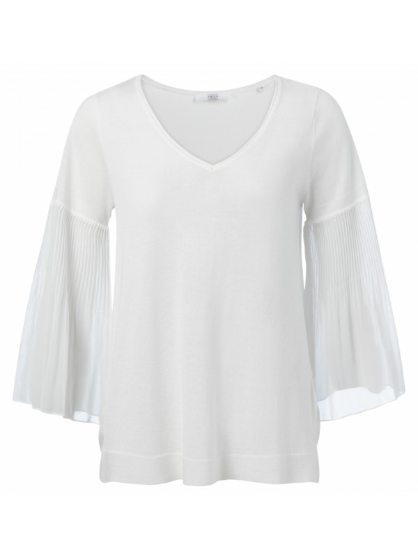 Cotton blend top with pleats