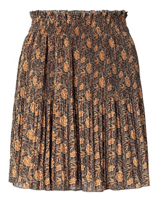 Pleated mini skirt with print
