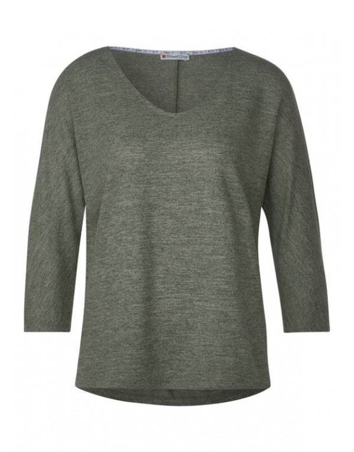 LTD QR linen look v-neck shirt