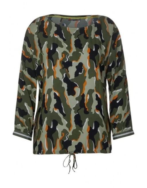 Printed blouse w batwing sleev