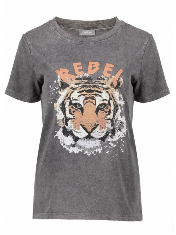 T-shirt rebel with tiger s/s