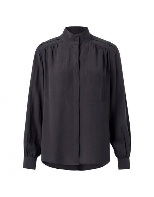 Lyocell blend high neck shirt