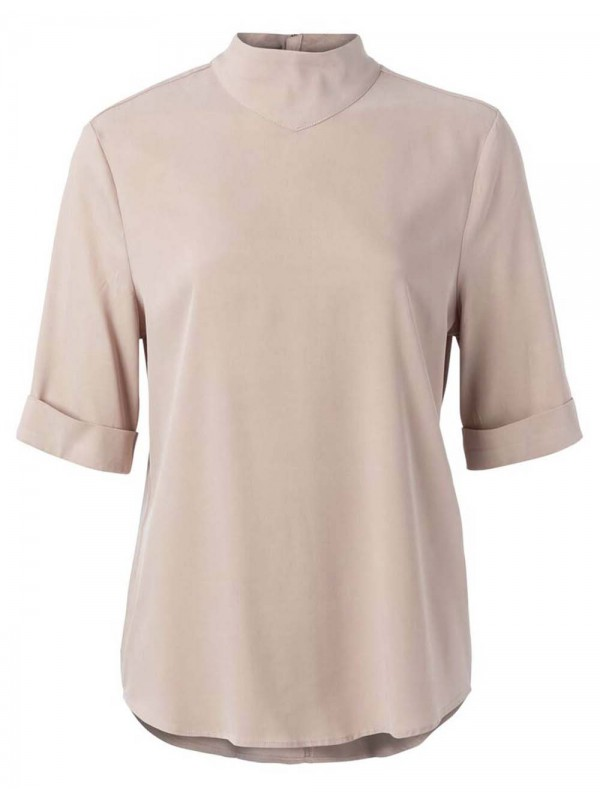 Cupro blend high neck top
