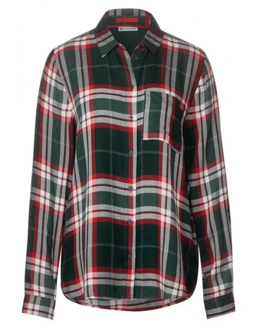 Check shirtcollar blouse