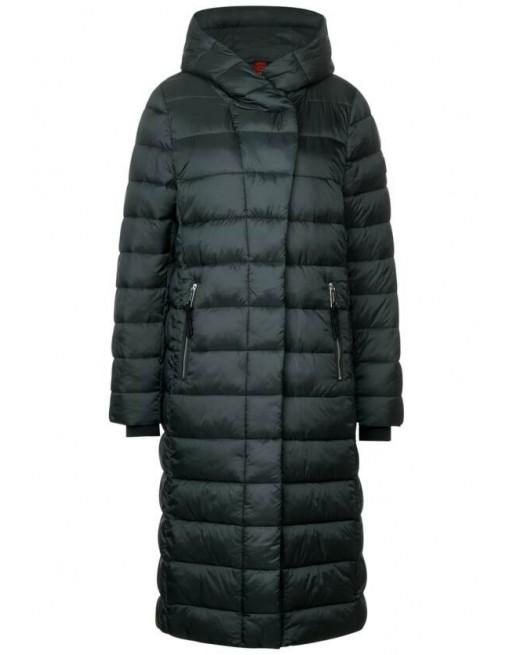long asymmetrical padded coat
