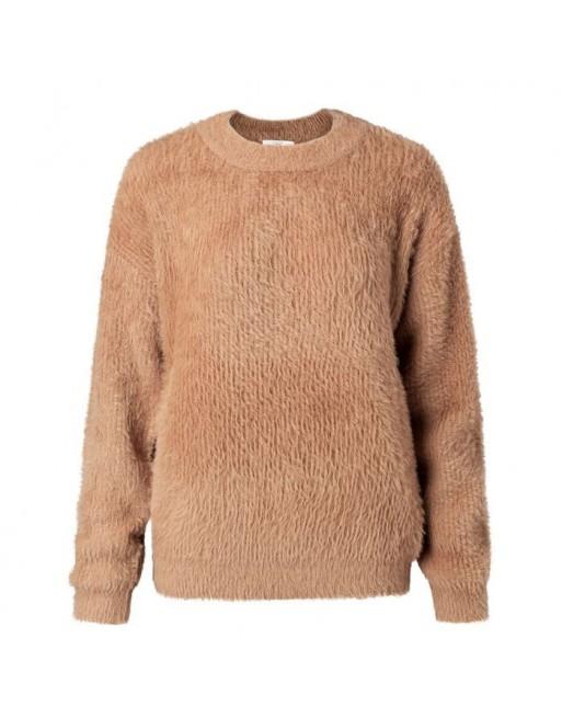 Faux fur fabric mix sweater