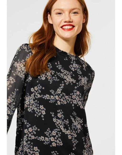 Chiffon-blouse met gesmokte...