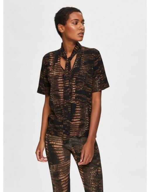 Slangenprint strikkoord blouse