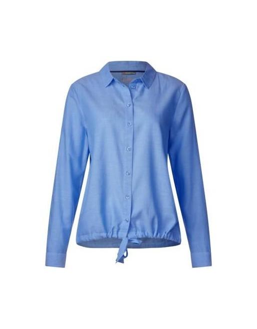 Chambray blouse w knotted bott