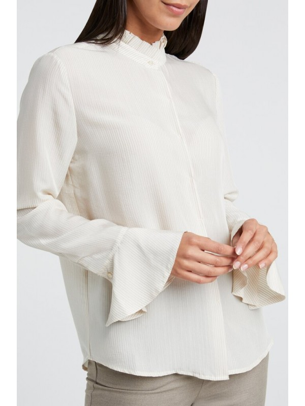 Blouse with ruffled neck