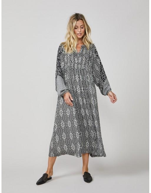 Dress kimono print mix