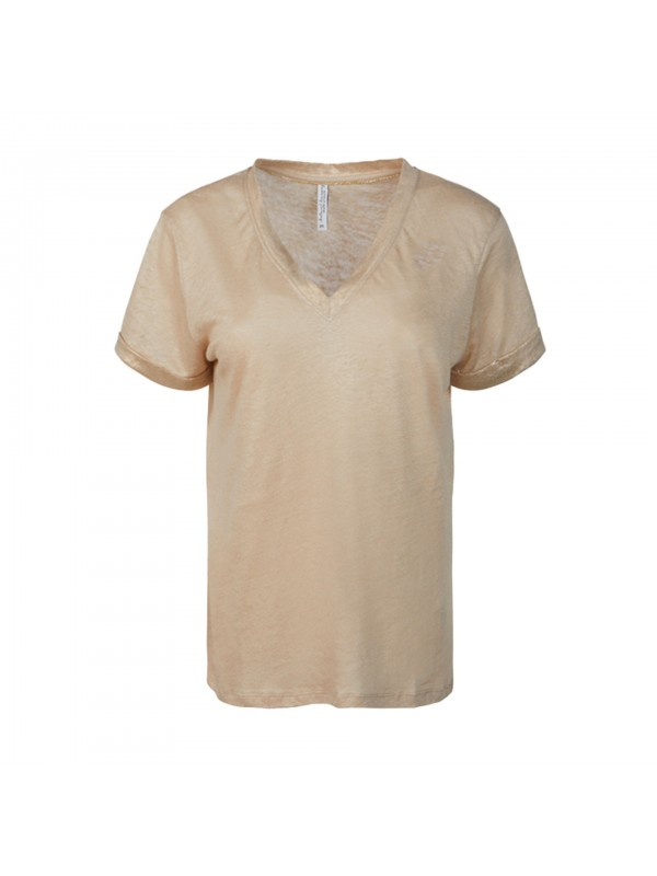Top foil coated linen jersey