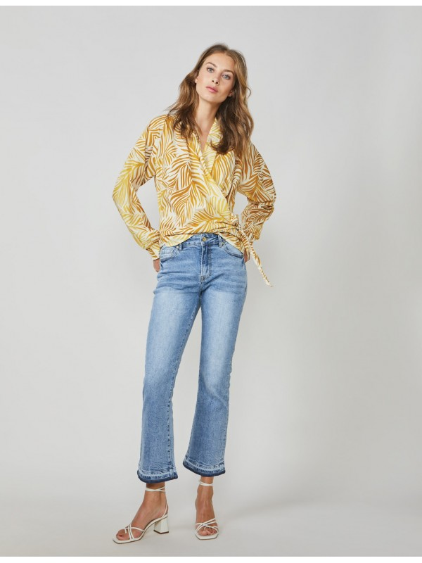 Bootcut cropped jeans twill...