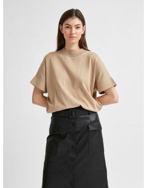 hoge hals stretch blouse