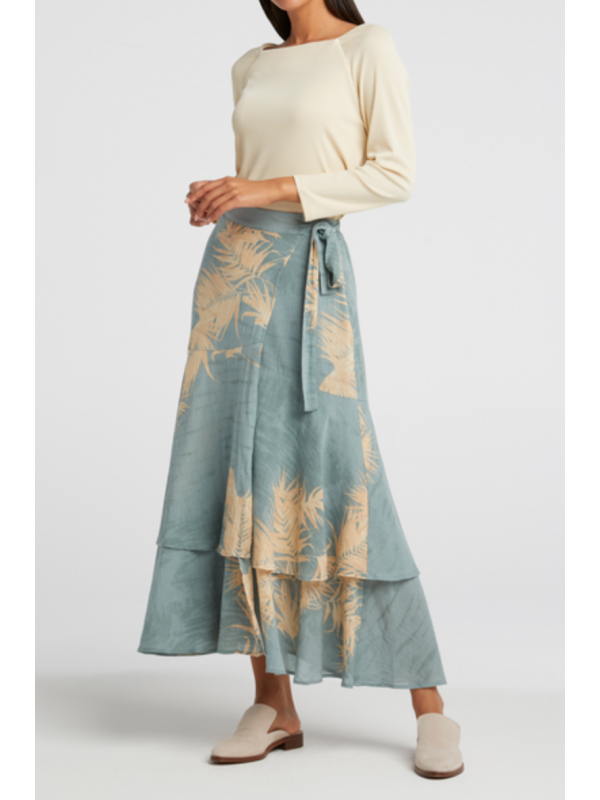 Printed wrap midi skirt