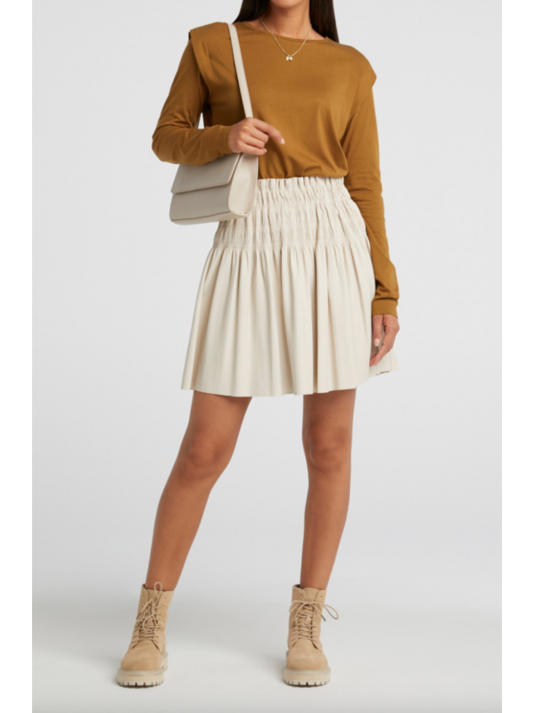 Faux leather ruffle skirt
