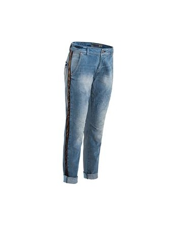 TROUSERS DENIM MIX WITH...