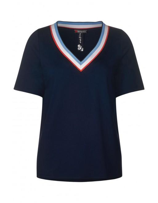 shirt w. rib v-neck