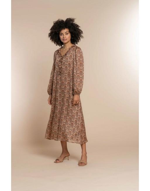 Dress front ruffle