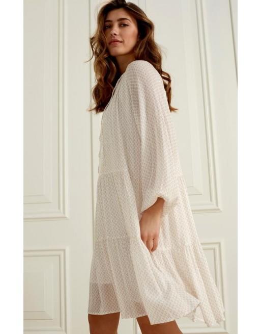 Geprinte lange mouwen jurk...